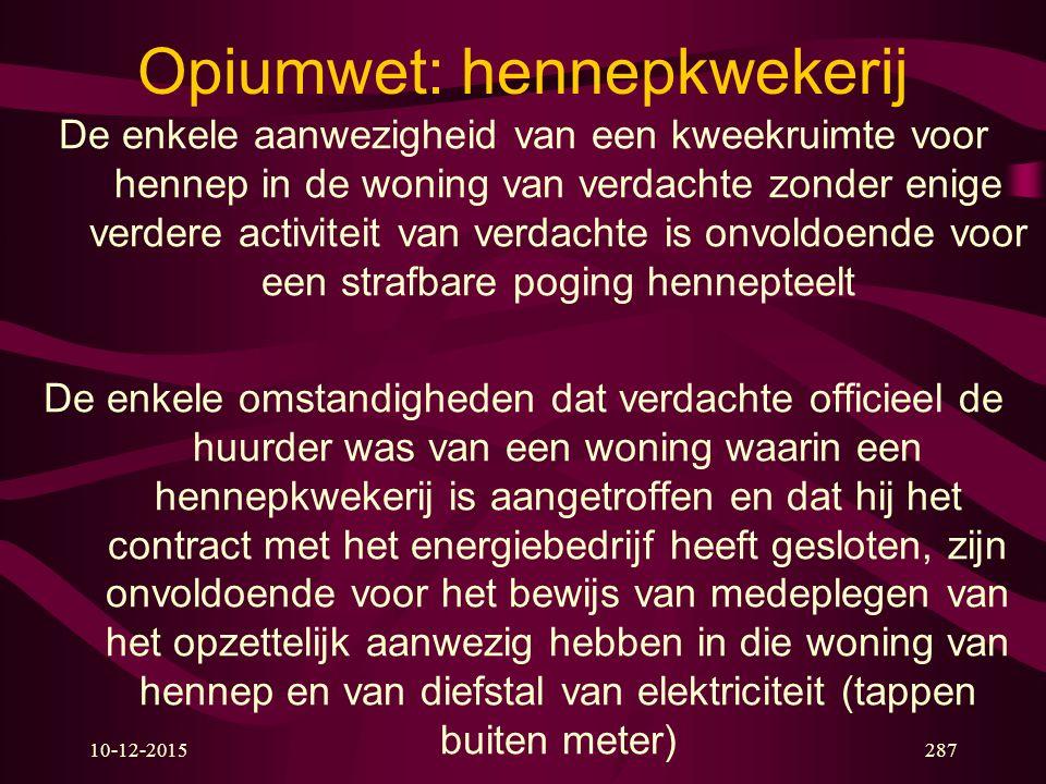 10-12-2015287 Opiumwet: hennepkwekerij De enkele aanwezigheid van een kweekruimte voor hennep in de woning van verdachte zonder enige verdere activite