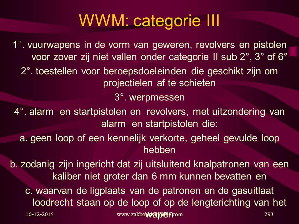 10-12-2015www.zakboekenpolitie.com293 WWM: categorie III 1°. vuurwapens in de vorm van geweren, revolvers en pistolen voor zover zij niet vallen onder