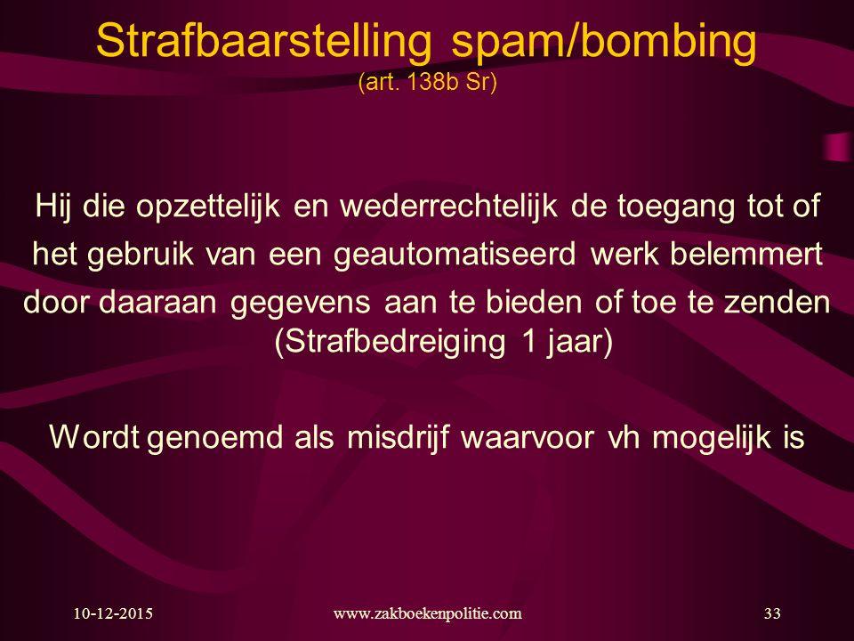 10-12-2015www.zakboekenpolitie.com33 Strafbaarstelling spam/bombing (art. 138b Sr) Hij die opzettelijk en wederrechtelijk de toegang tot of het gebrui