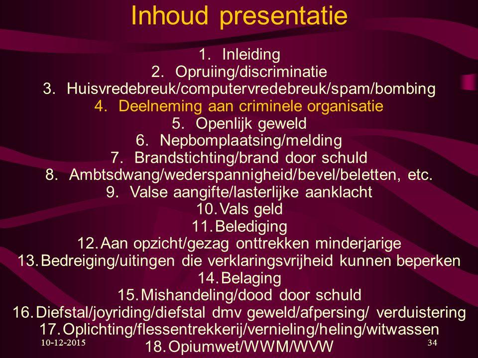 10-12-201534 Inhoud presentatie 1.Inleiding 2.Opruiing/discriminatie 3.Huisvredebreuk/computervredebreuk/spam/bombing 4.Deelneming aan criminele organ
