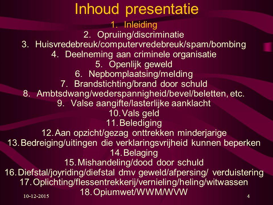10-12-20154 Inhoud presentatie 1.Inleiding 2.Opruiing/discriminatie 3.Huisvredebreuk/computervredebreuk/spam/bombing 4.Deelneming aan criminele organi