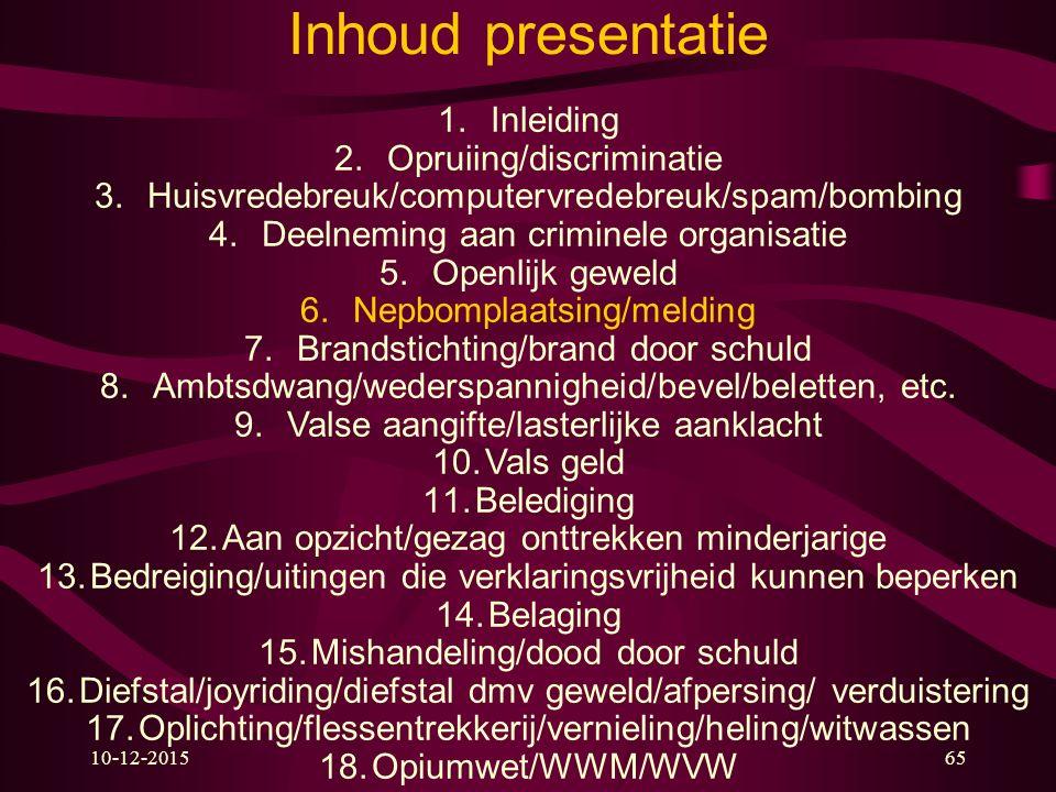 10-12-201565 Inhoud presentatie 1.Inleiding 2.Opruiing/discriminatie 3.Huisvredebreuk/computervredebreuk/spam/bombing 4.Deelneming aan criminele organ