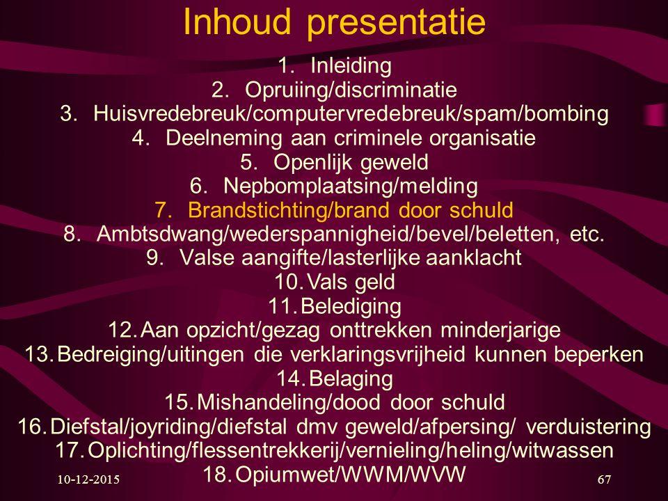 10-12-201567 Inhoud presentatie 1.Inleiding 2.Opruiing/discriminatie 3.Huisvredebreuk/computervredebreuk/spam/bombing 4.Deelneming aan criminele organ