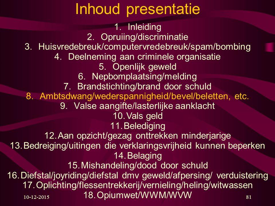 10-12-201581 Inhoud presentatie 1.Inleiding 2.Opruiing/discriminatie 3.Huisvredebreuk/computervredebreuk/spam/bombing 4.Deelneming aan criminele organ