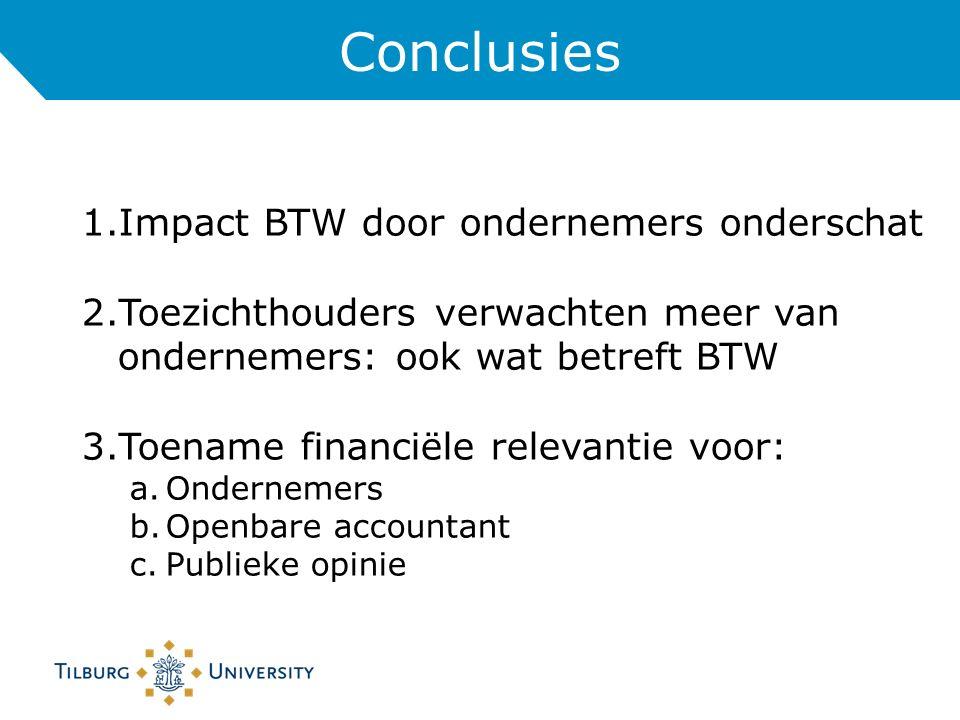 Conclusies 1.Impact BTW door ondernemers onderschat 2.Toezichthouders verwachten meer van ondernemers: ook wat betreft BTW 3.Toename financiële relevantie voor: a.Ondernemers b.Openbare accountant c.Publieke opinie