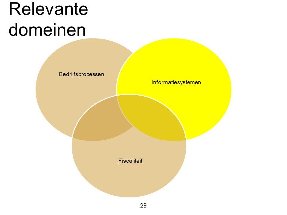 Relevante domeinen 29 Bedrijfsprocessen Informatiesystemen Fiscaliteit