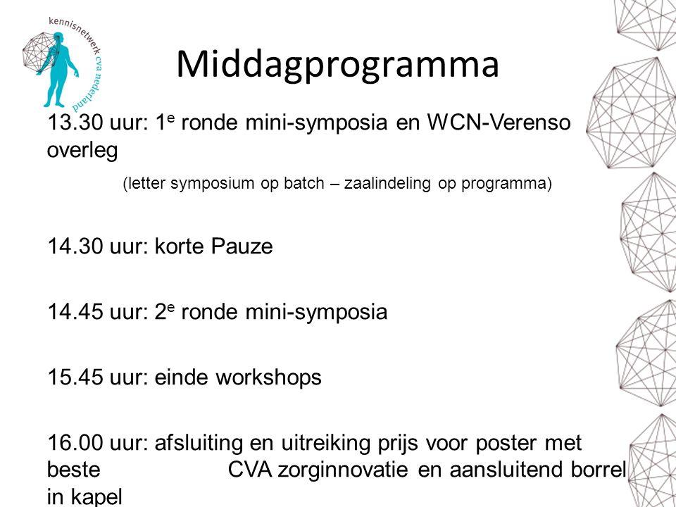 Middagprogramma 13.30 uur: 1 e ronde mini-symposia en WCN-Verenso overleg (letter symposium op batch – zaalindeling op programma) 14.30 uur: korte Pau