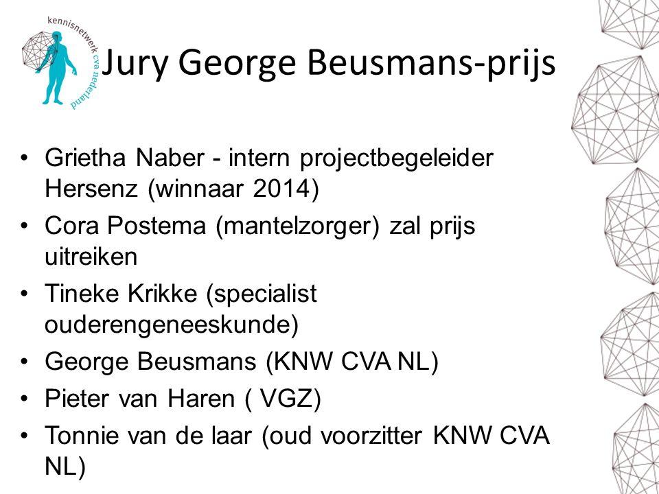 Jury George Beusmans-prijs Grietha Naber - intern projectbegeleider Hersenz (winnaar 2014) Cora Postema (mantelzorger) zal prijs uitreiken Tineke Krik