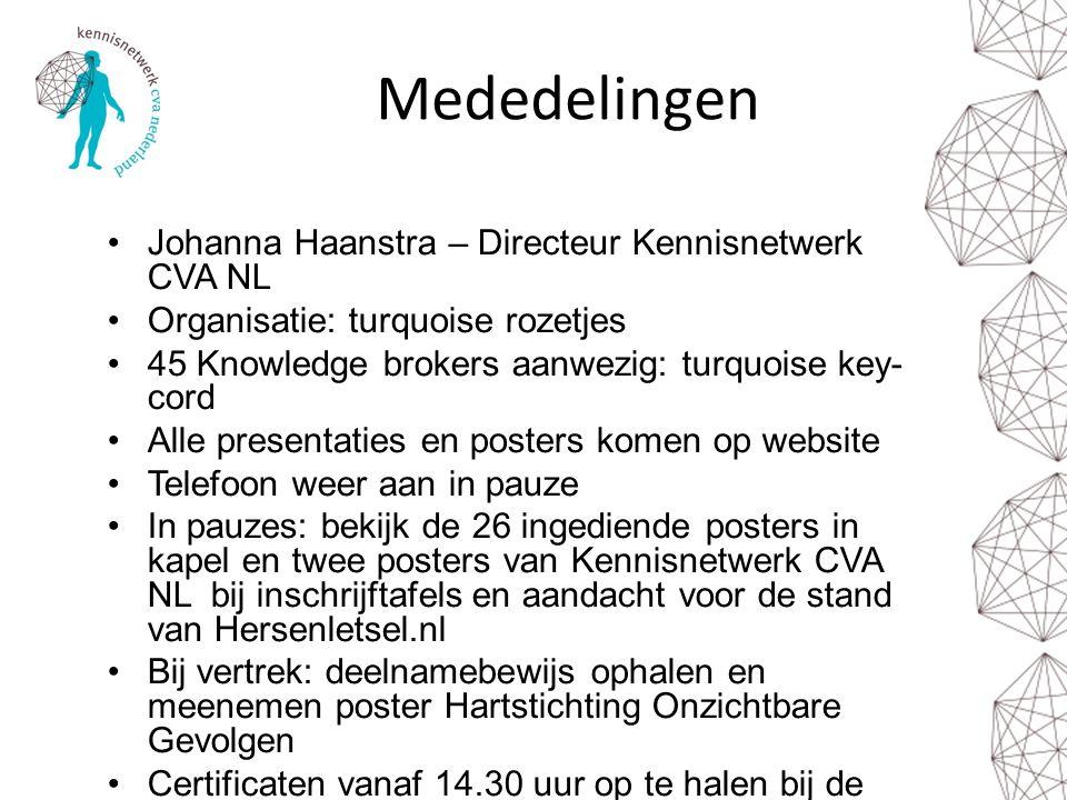 Mededelingen Johanna Haanstra – Directeur Kennisnetwerk CVA NL Organisatie: turquoise rozetjes 45 Knowledge brokers aanwezig: turquoise key- cord Alle