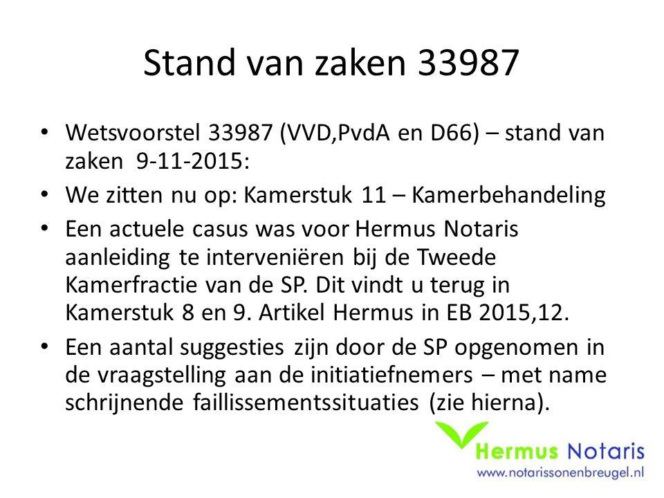 Stand van zaken 33987 Wetsvoorstel 33987 (VVD,PvdA en D66) – stand van zaken 9-11-2015: We zitten nu op: Kamerstuk 11 – Kamerbehandeling Een actuele c
