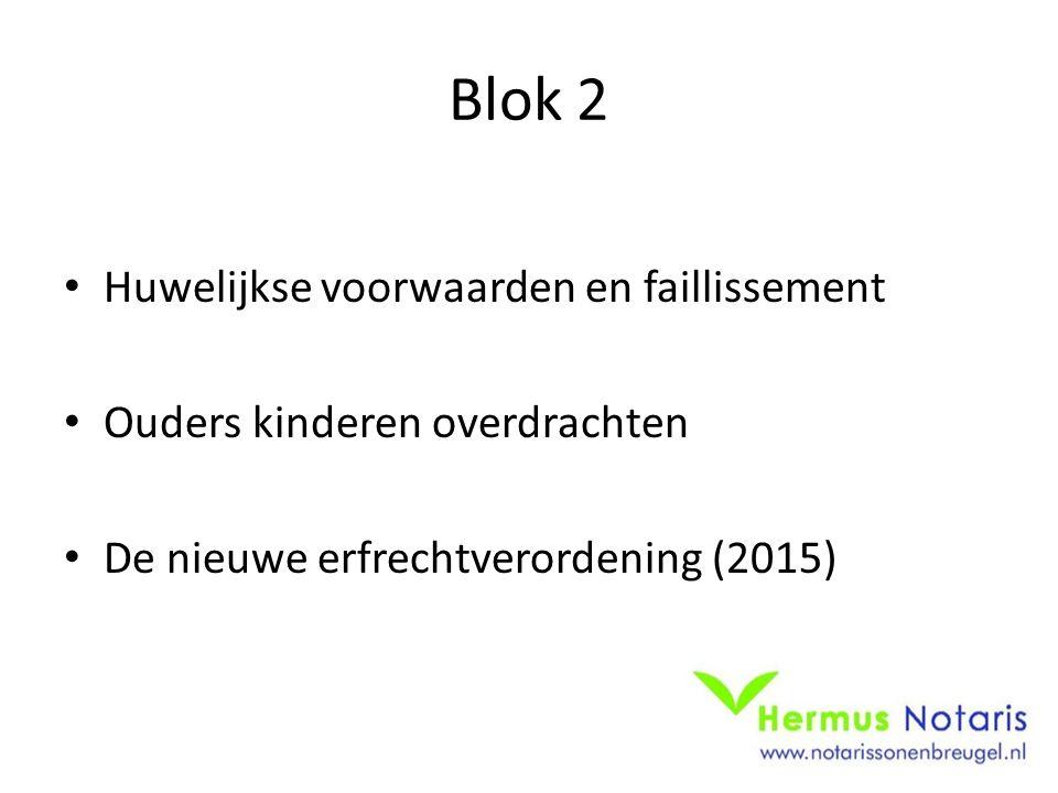 Blok 2 Huwelijkse voorwaarden en faillissement Ouders kinderen overdrachten De nieuwe erfrechtverordening (2015)