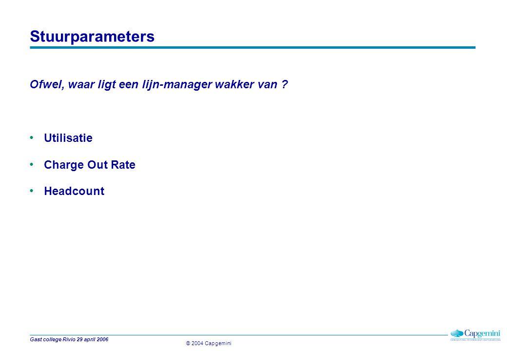 © 2004 Capgemini Gast college Rivio 29 april 2006 Stuurparameters Ofwel, waar ligt een lijn-manager wakker van .