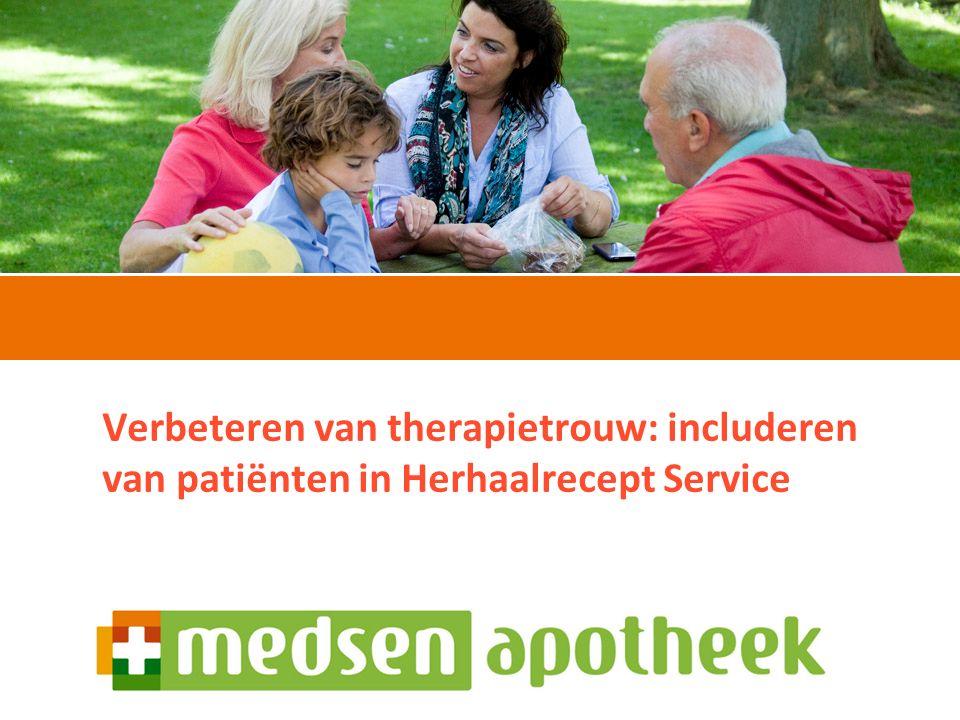 Sandra Schouws20 september 2012 Verbeteren van therapietrouw: includeren van patiënten in Herhaalrecept Service