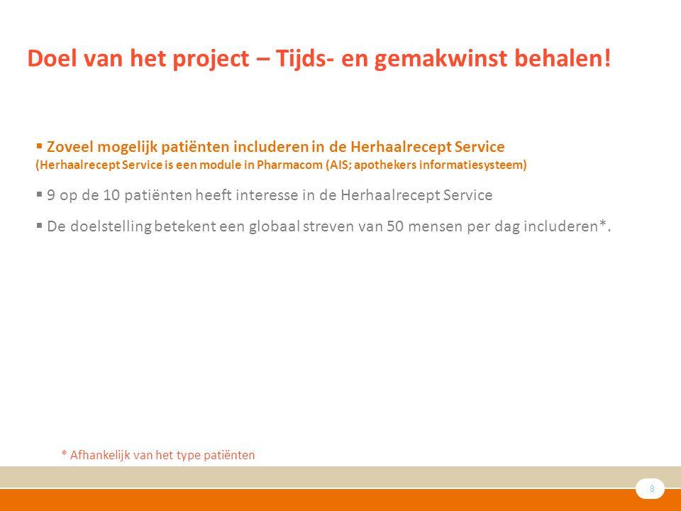 8 Doel van het project – Tijds- en gemakwinst behalen.