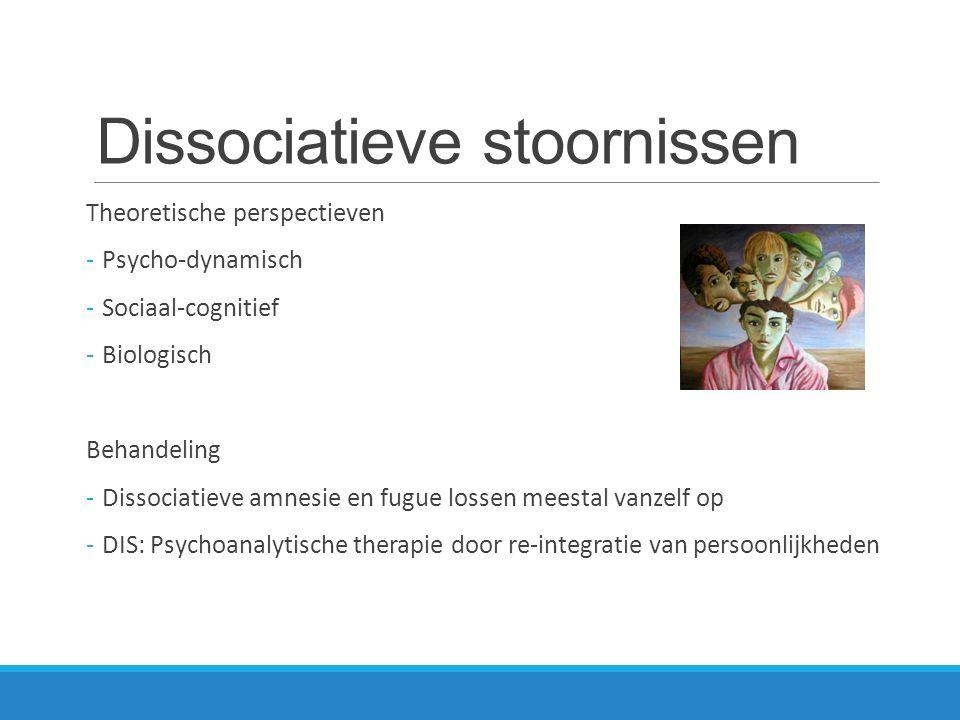 Dissociatieve stoornissen Theoretische perspectieven - Psycho-dynamisch - Sociaal-cognitief - Biologisch Behandeling - Dissociatieve amnesie en fugue