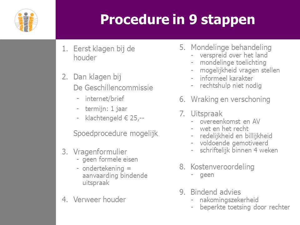 Procedure in 9 stappen 1.Eerst klagen bij de houder 2.Dan klagen bij De Geschillencommissie - internet/brief - termijn: 1 jaar -klachtengeld € 25,-- Spoedprocedure mogelijk 3.Vragenformulier -geen formele eisen - ondertekening = aanvaarding bindende uitspraak 4.Verweer houder 5.Mondelinge behandeling - verspreid over het land - mondelinge toelichting - mogelijkheid vragen stellen - informeel karakter - rechtshulp niet nodig 6.Wraking en verschoning 7.Uitspraak -overeenkomst en AV - wet en het recht - redelijkheid en billijkheid - voldoende gemotiveerd - schriftelijk binnen 4 weken 8.Kostenveroordeling -geen 9.Bindend advies - nakomingszekerheid - beperkte toetsing door rechter