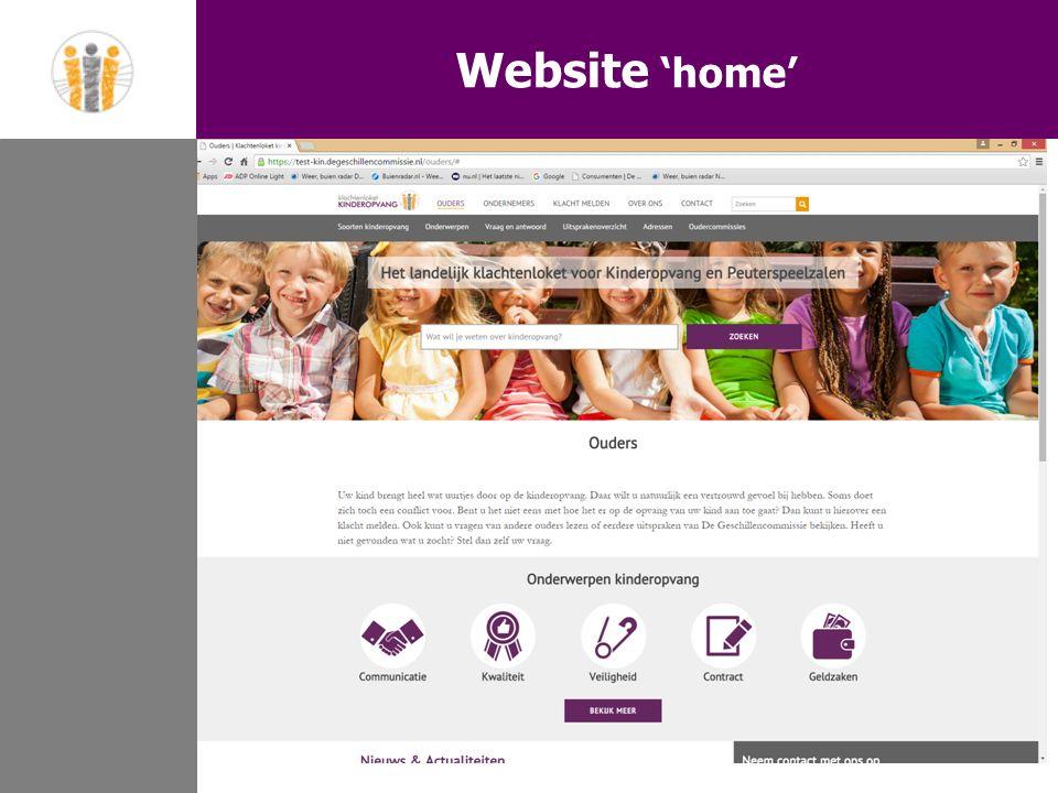 Website 'home' 1.Aanleiding 2.Doelstelling 3.Doelgroepen 4.Schematisch weergave 5.Website 'home' 6.Website 'onderwerp' 7.Website 'FAQ' 8.Vragen Website 'home'