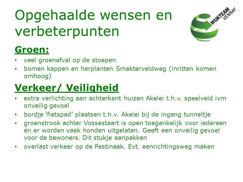 Opgehaalde wensen en verbeterpunten Groen: veel groenafval op de stoepen bomen kappen en herplanten Smakterveldweg (inritten komen omhoog) Verkeer/ Ve