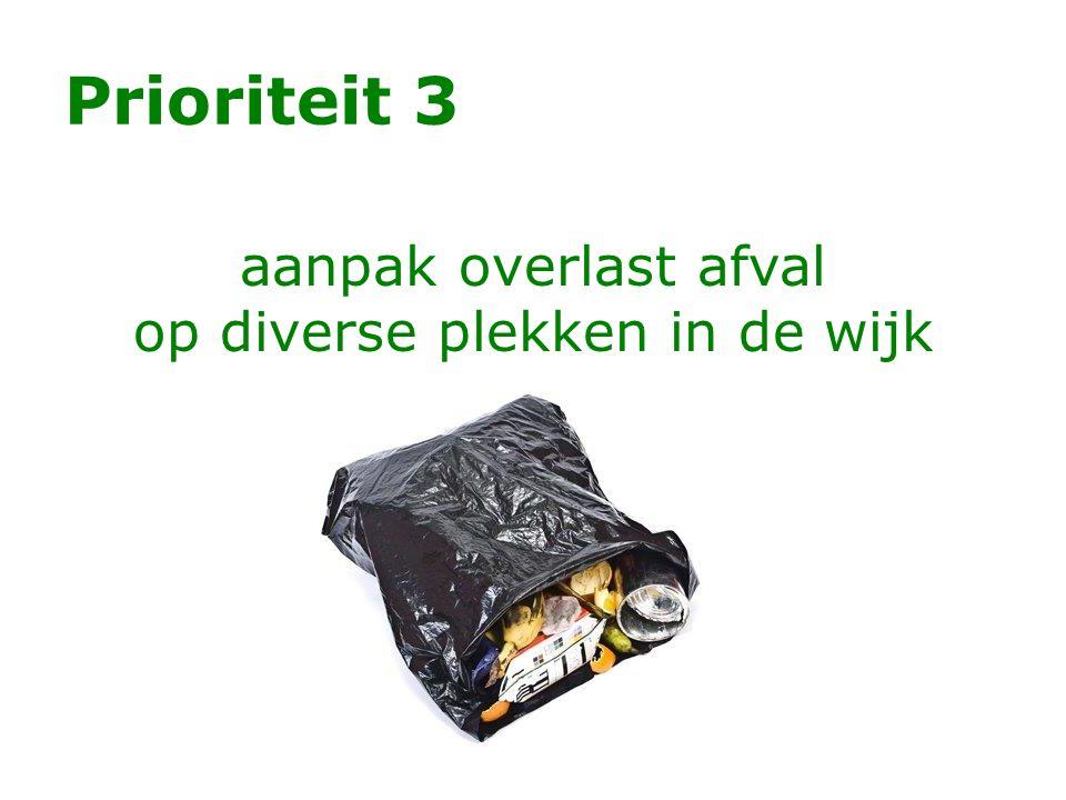 Prioriteit 3 aanpak overlast afval op diverse plekken in de wijk