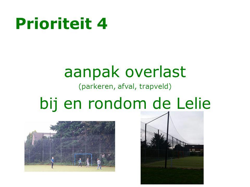 Prioriteit 4 aanpak overlast (parkeren, afval, trapveld) bij en rondom de Lelie