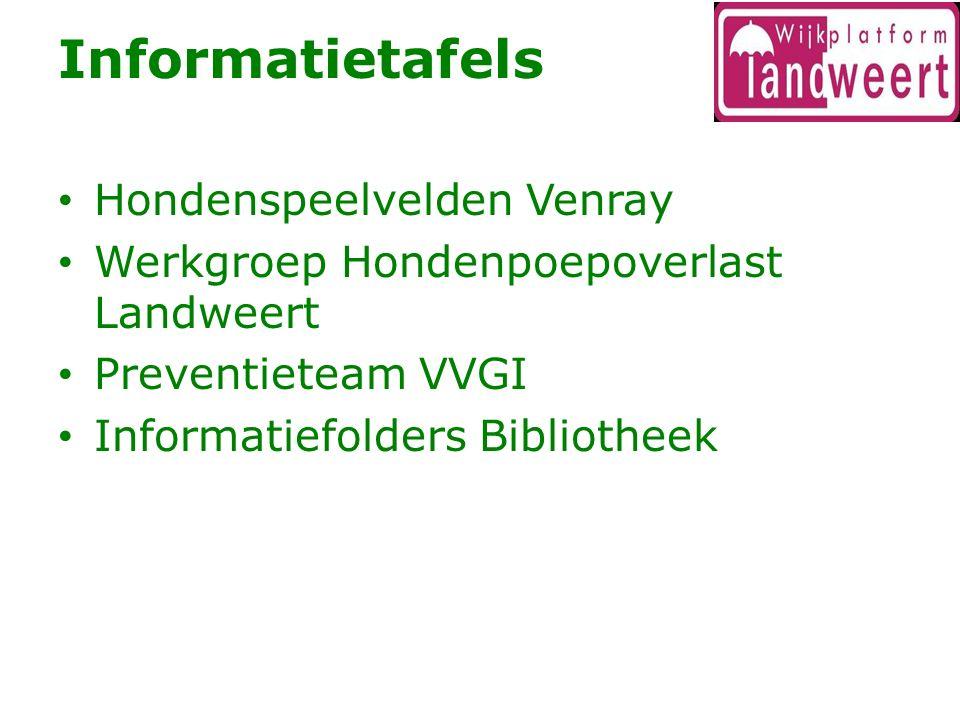 Informatietafels Hondenspeelvelden Venray Werkgroep Hondenpoepoverlast Landweert Preventieteam VVGI Informatiefolders Bibliotheek