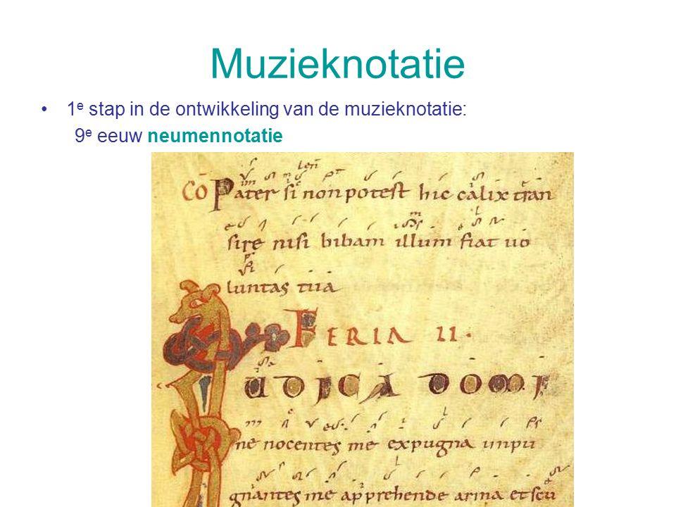 Muzieknotatie 1 e stap in de ontwikkeling van de muzieknotatie: 9 e eeuw neumennotatie