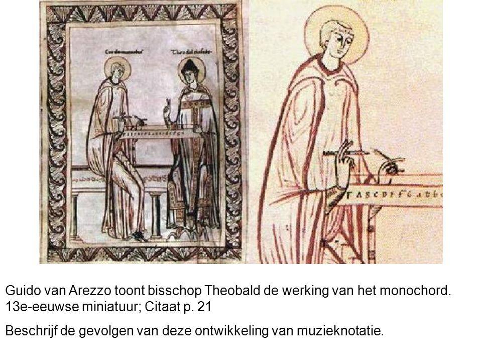 Guido van Arezzo toont bisschop Theobald de werking van het monochord. 13e-eeuwse miniatuur; Citaat p. 21 Beschrijf de gevolgen van deze ontwikkeling