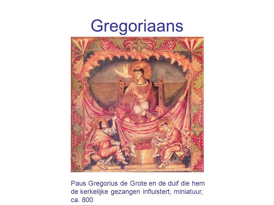 Gregoriaans Paus Gregorius de Grote en de duif die hem de kerkelijke gezangen influistert, miniatuur, ca. 800