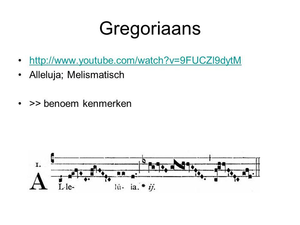 Kenmerken Gregoriaans Eenstemmig (monodisch = 1 melodielijn) A capella (gezongen zonder begeleiding van instrumenten) niet maatgebonden ritme (vrije ritmiek) Liturgische teksten in Latijn (taal van de kerk) Het lied eindigt veelal op grondtoon Psalmen, vaak sober, iedere lettergreep op 1 toon gezongen = Syllabisch Ook soms melodieën met een reeks van tonen op 1 lettergreep zoals bij uitbundige Alleluja (nr.