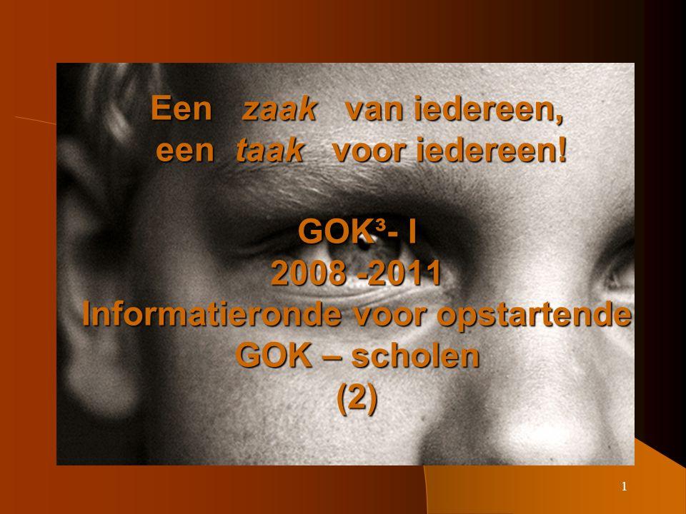22 Zicht op de eerste GOK – cyclus (1) (2002: 1772 scholen)  Bijna 80 % koos voor thema's; hiervan koos 85 % voor 2 thema's voor de hele school.