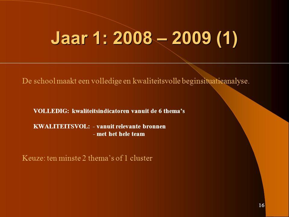 16 Jaar 1: 2008 – 2009 (1) De school maakt een volledige en kwaliteitsvolle beginsituatieanalyse.