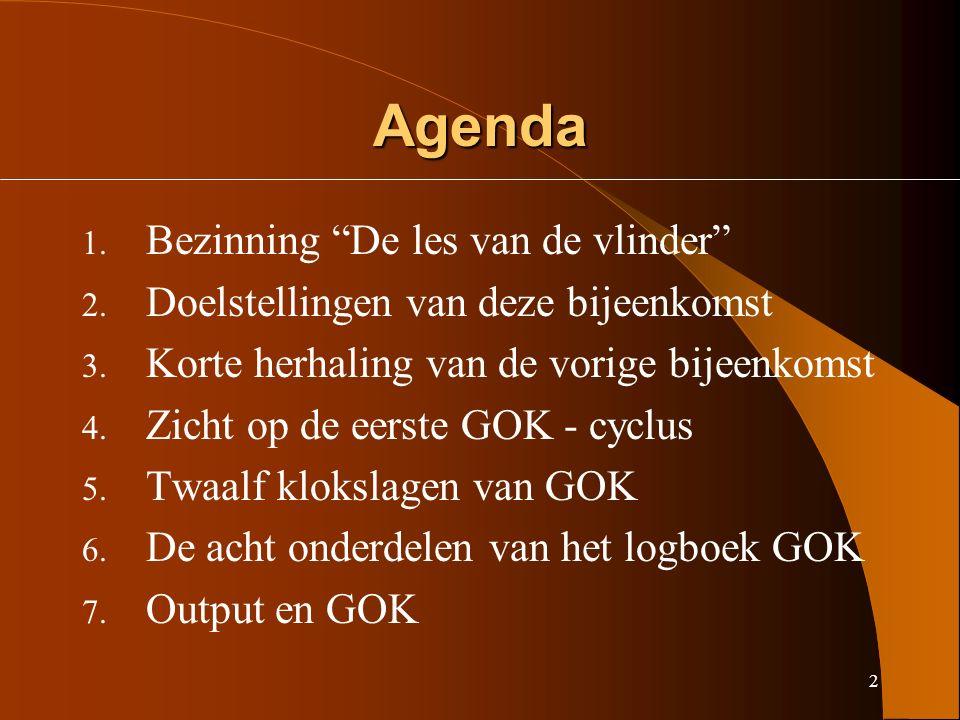 2 Agenda 1. Bezinning De les van de vlinder 2. Doelstellingen van deze bijeenkomst 3.