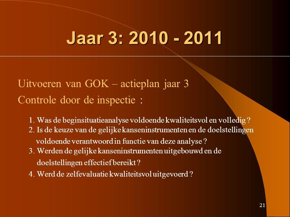 21 Jaar 3: 2010 - 2011 Uitvoeren van GOK – actieplan jaar 3 Controle door de inspectie : 1.