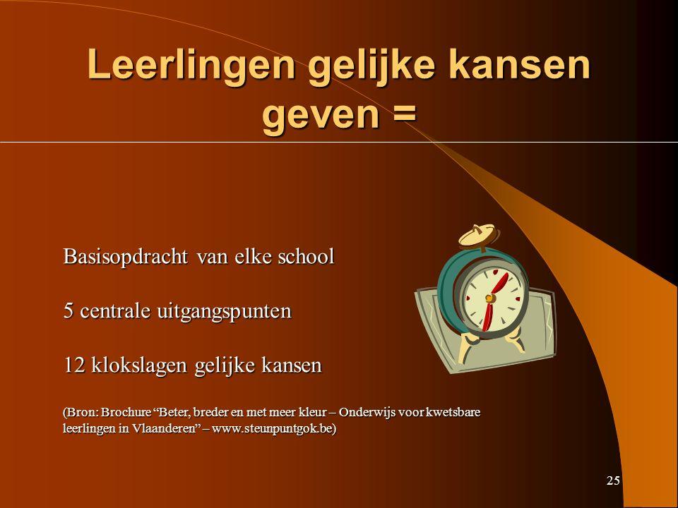 25 Leerlingen gelijke kansen geven = Basisopdracht van elke school 5 centrale uitgangspunten 12 klokslagen gelijke kansen (Bron: Brochure Beter, breder en met meer kleur – Onderwijs voor kwetsbare leerlingen in Vlaanderen – www.steunpuntgok.be)