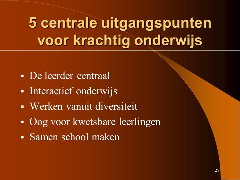 27 5 centrale uitgangspunten voor krachtig onderwijs  De leerder centraal  Interactief onderwijs  Werken vanuit diversiteit  Oog voor kwetsbare leerlingen  Samen school maken