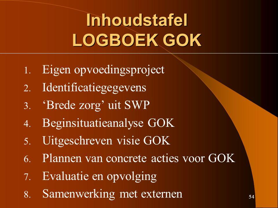 54 Inhoudstafel LOGBOEK GOK 1. Eigen opvoedingsproject 2.