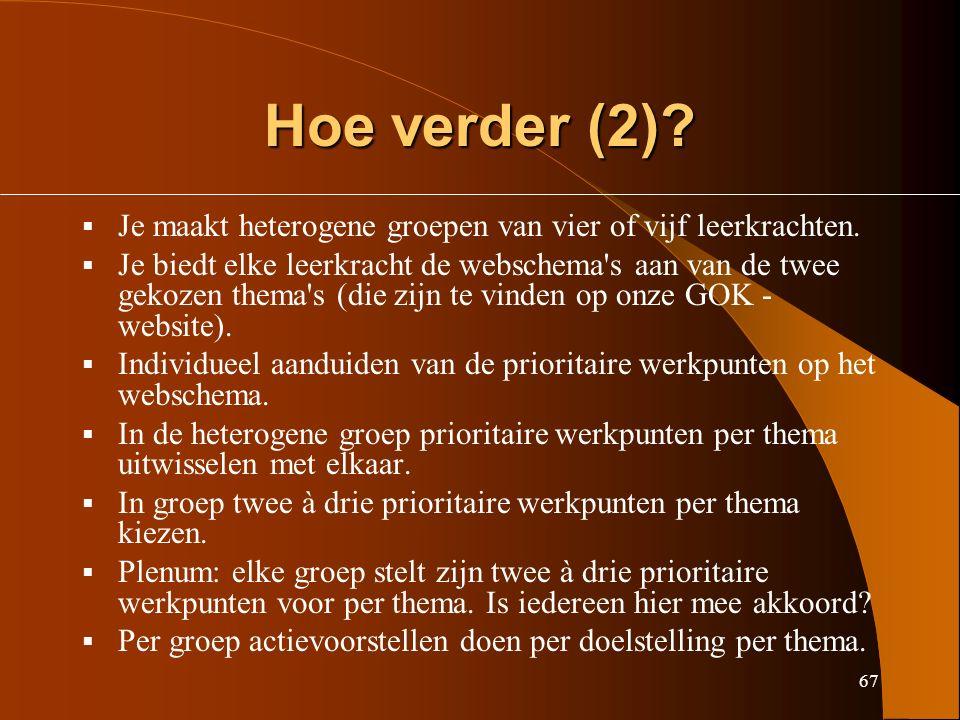 67 Hoe verder (2).  Je maakt heterogene groepen van vier of vijf leerkrachten.