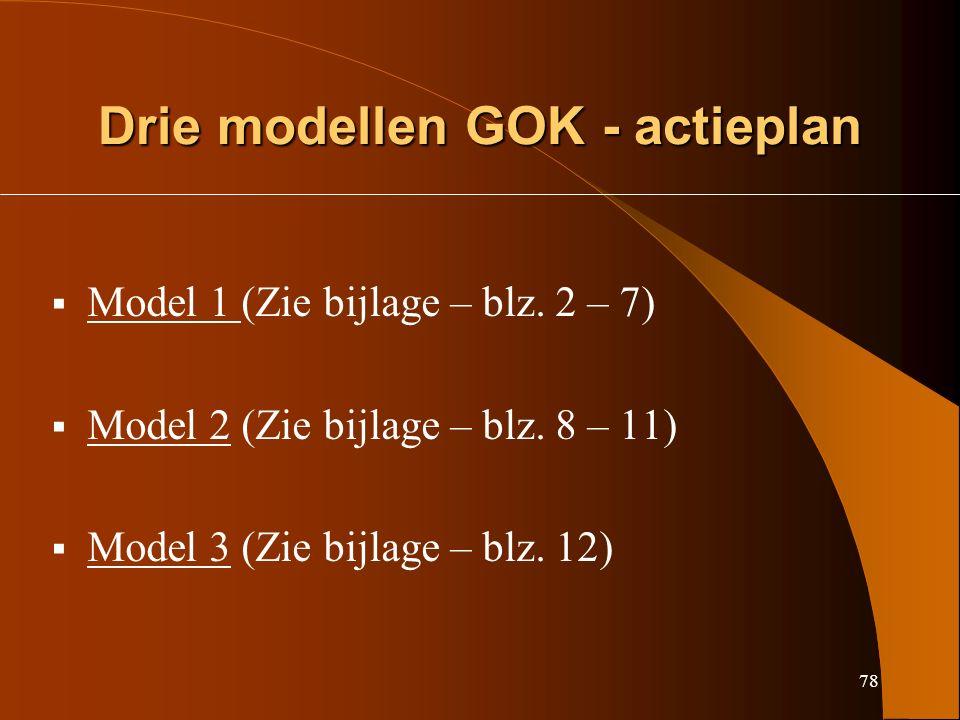 78 Drie modellen GOK - actieplan  Model 1 (Zie bijlage – blz.