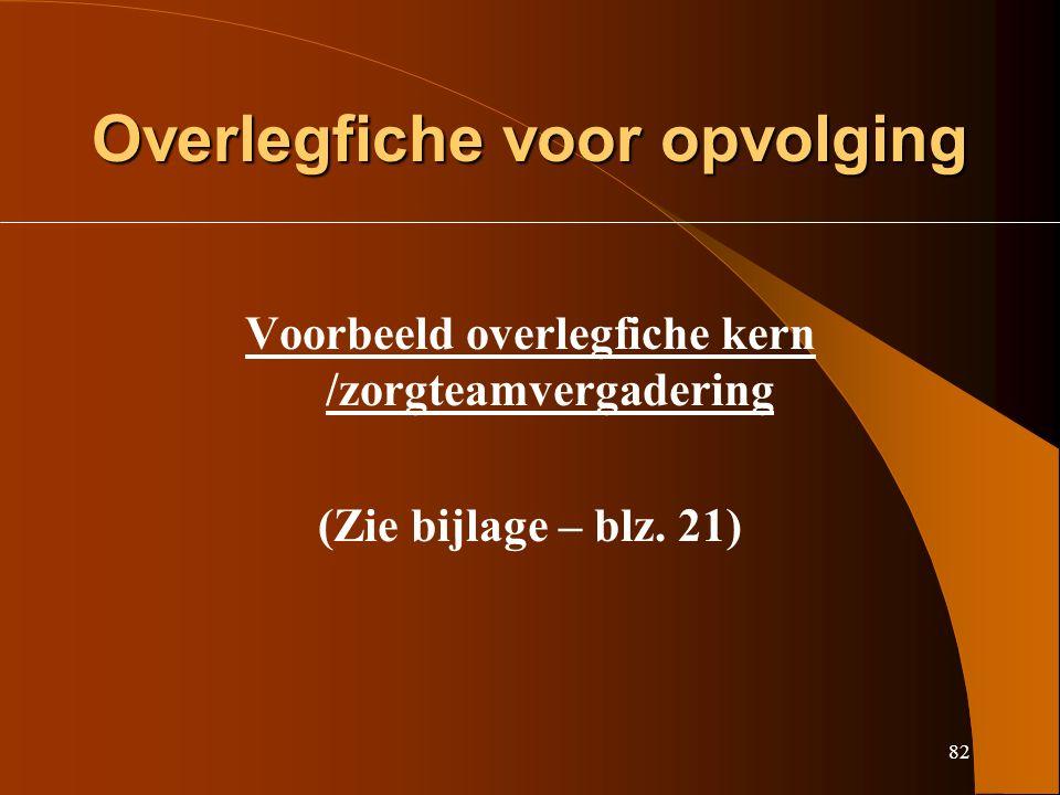 82 Overlegfiche voor opvolging Voorbeeld overlegfiche kern /zorgteamvergadering (Zie bijlage – blz.