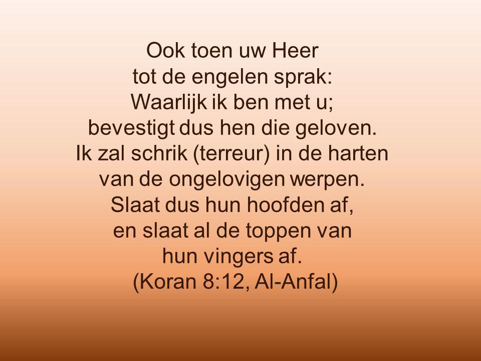 Ook toen uw Heer tot de engelen sprak: Waarlijk ik ben met u; bevestigt dus hen die geloven. Ik zal schrik (terreur) in de harten van de ongelovigen w