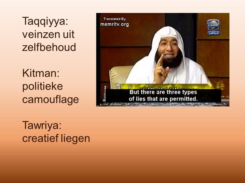 Taqqiyya: veinzen uit zelfbehoud Kitman: politieke camouflage Tawriya: creatief liegen