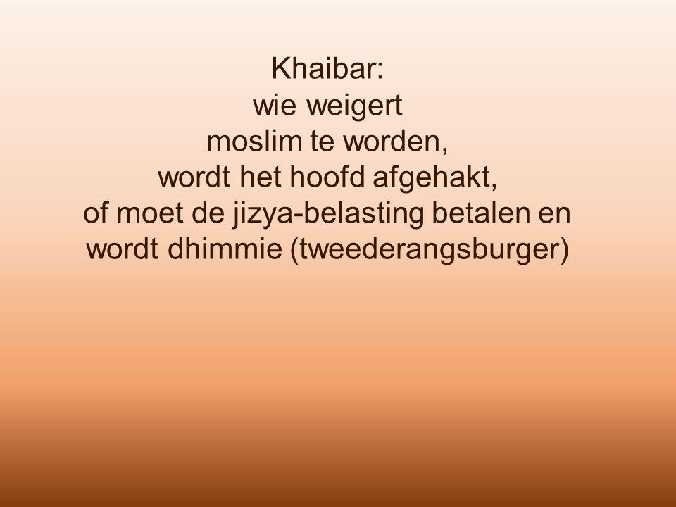 Khaibar: wie weigert moslim te worden, wordt het hoofd afgehakt, of moet de jizya-belasting betalen en wordt dhimmie (tweederangsburger)
