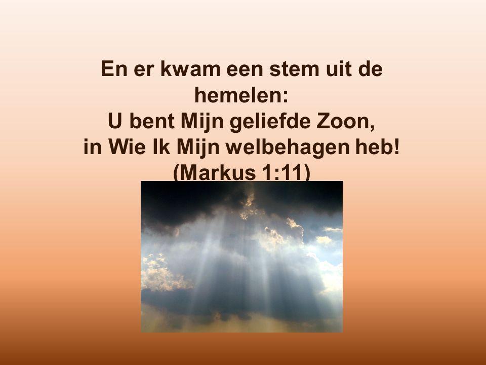 En er kwam een stem uit de hemelen: U bent Mijn geliefde Zoon, in Wie Ik Mijn welbehagen heb! (Markus 1:11)