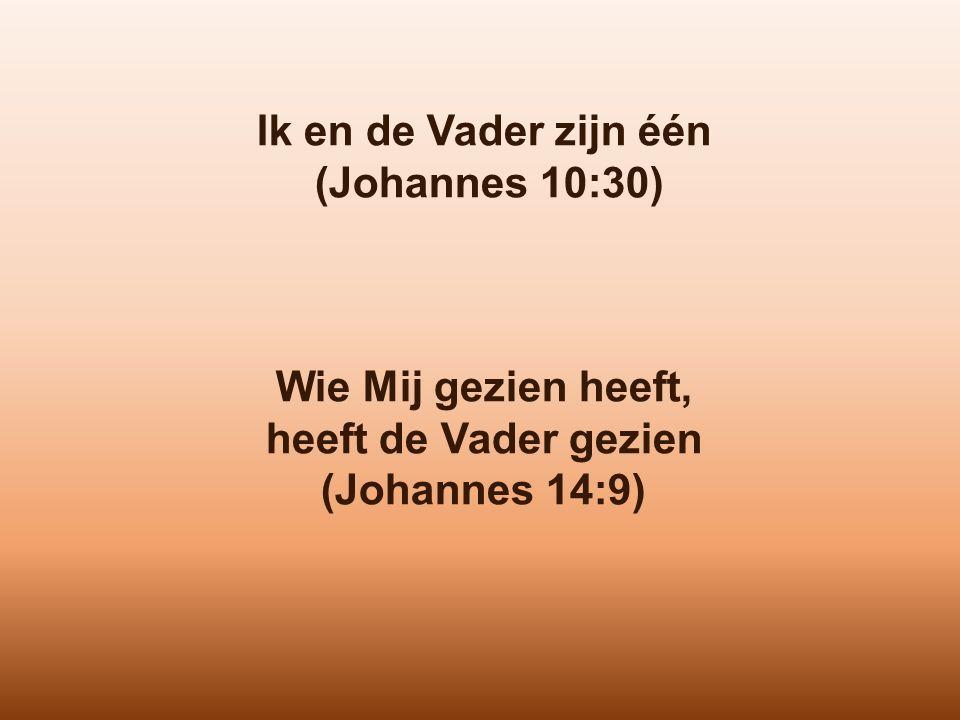 Ik en de Vader zijn één (Johannes 10:30) Wie Mij gezien heeft, heeft de Vader gezien (Johannes 14:9)
