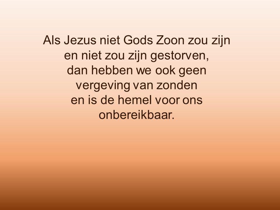Als Jezus niet Gods Zoon zou zijn en niet zou zijn gestorven, dan hebben we ook geen vergeving van zonden en is de hemel voor ons onbereikbaar.