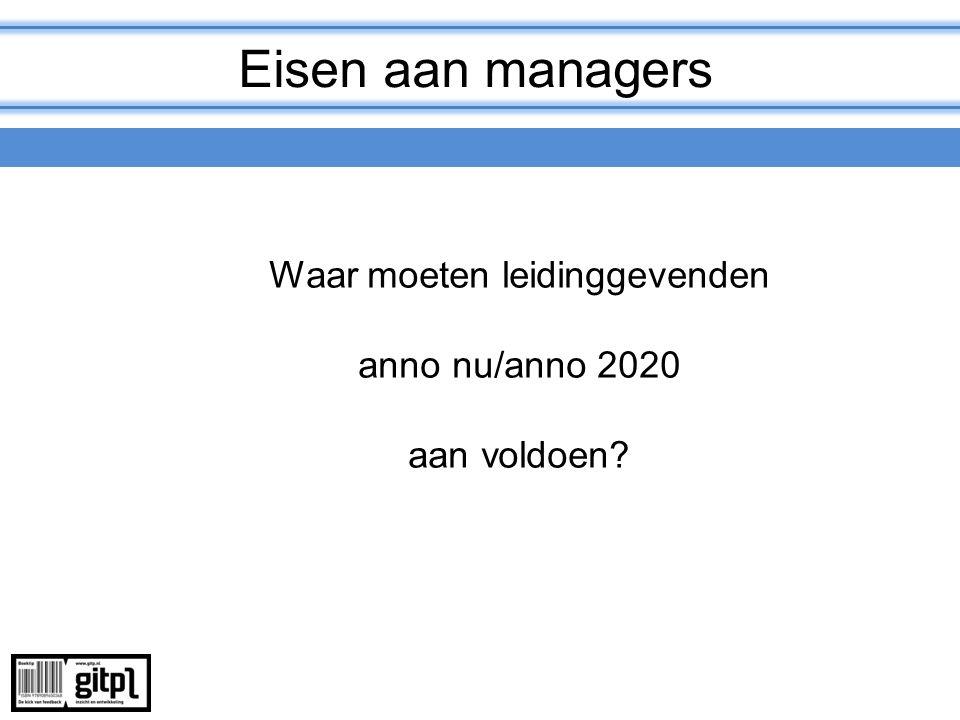Eisen aan managers Waar moeten leidinggevenden anno nu/anno 2020 aan voldoen?