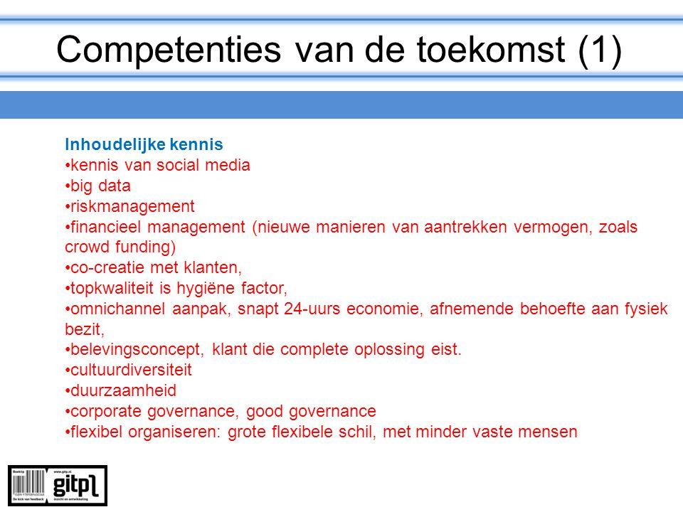 Competenties van de toekomst (1) Inhoudelijke kennis kennis van social media big data riskmanagement financieel management (nieuwe manieren van aantre
