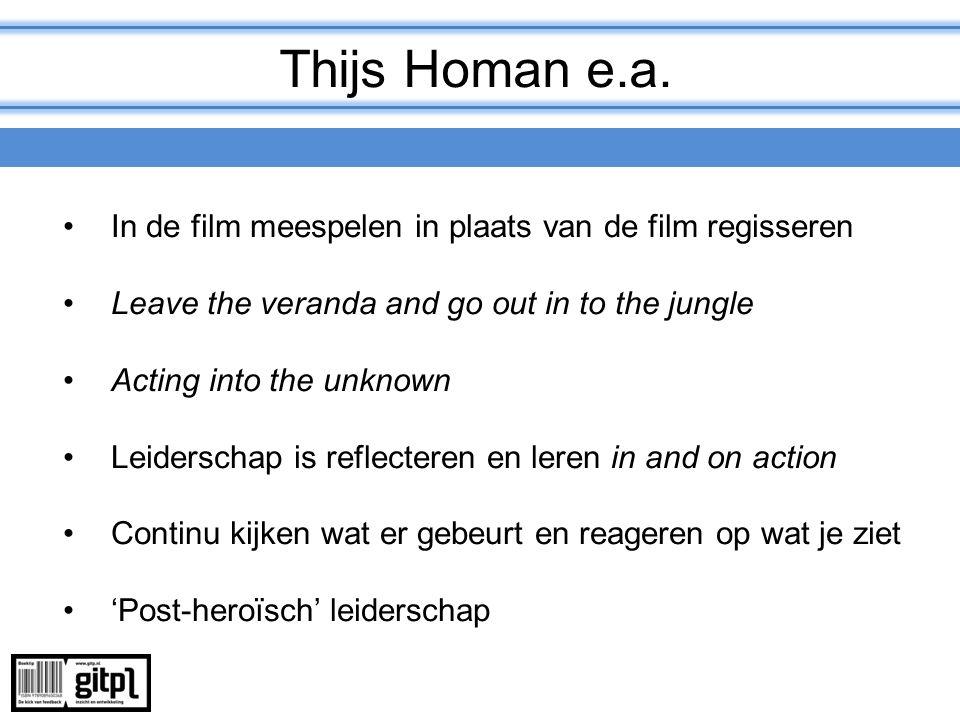 Thijs Homan e.a. In de film meespelen in plaats van de film regisseren Leave the veranda and go out in to the jungle Acting into the unknown Leidersch