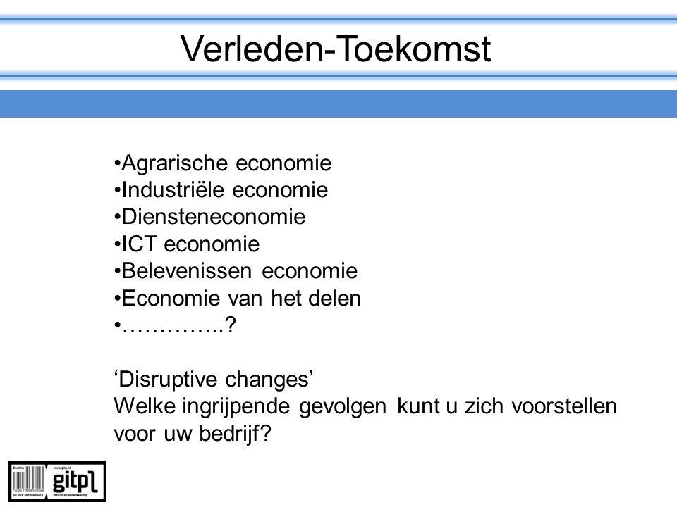 Verleden-Toekomst Agrarische economie Industriële economie Diensteneconomie ICT economie Belevenissen economie Economie van het delen …………..? 'Disrupt