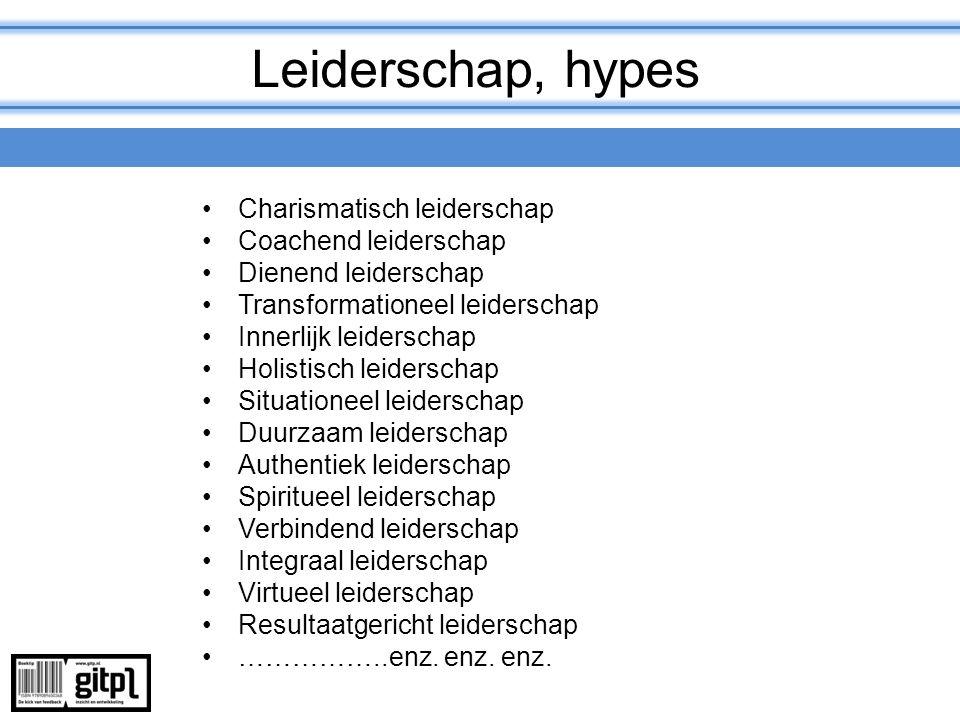 Leiderschap, hypes Charismatisch leiderschap Coachend leiderschap Dienend leiderschap Transformationeel leiderschap Innerlijk leiderschap Holistisch l